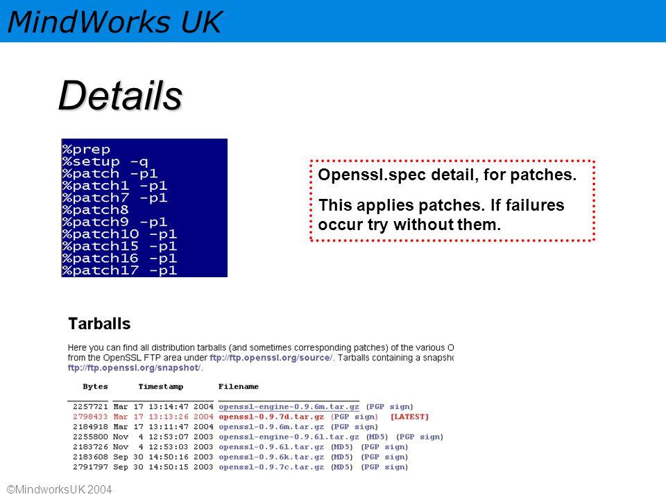 MindWorks UK ©MindworksUK 2004 Details Openssl.spec detail, for patches.