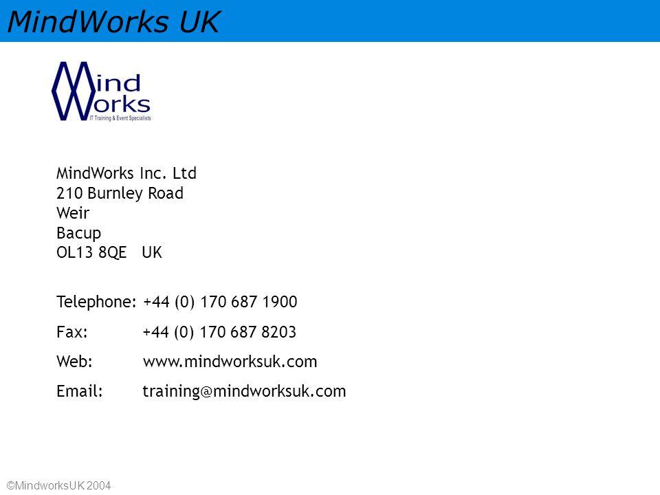 MindWorks UK ©MindworksUK 2004 MindWorks Inc.