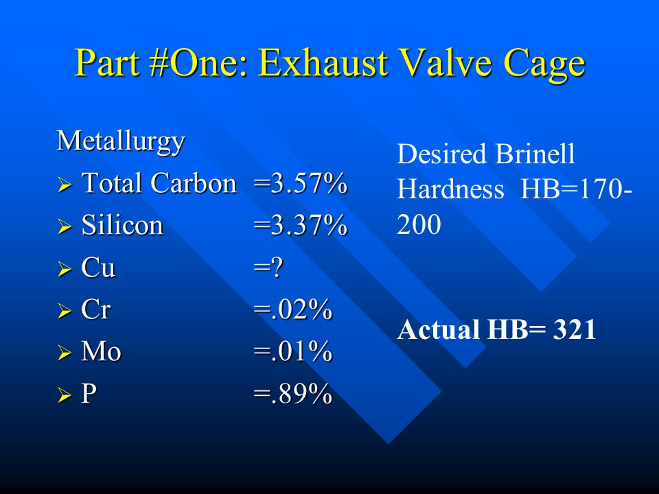 Part #One: Exhaust Valve Cage Metallurgy  Total Carbon =3.57%  Silicon=3.37%  Cu =?  Cr=.02%  Mo=.01%  P=.89% Desired Brinell Hardness HB=170- 2