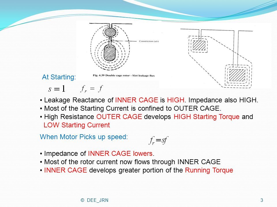 At Starting: Leakage Reactance of INNER CAGE is HIGH. Impedance also HIGH. Most of the Starting Current is confined to OUTER CAGE. High Resistance OUT