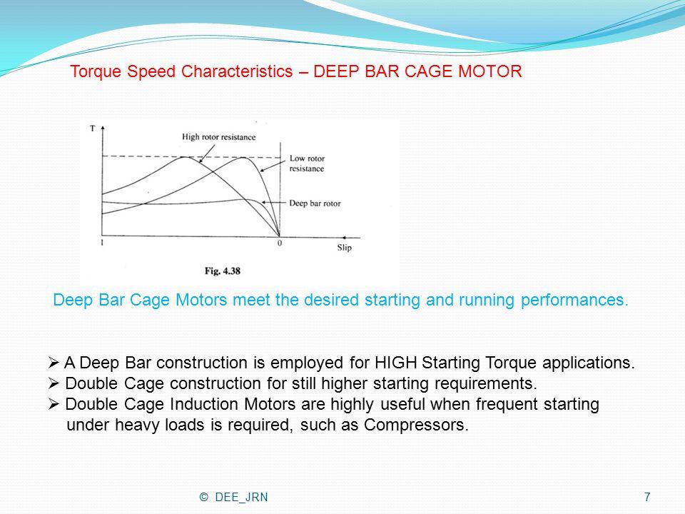 Torque Speed Characteristics – DEEP BAR CAGE MOTOR Deep Bar Cage Motors meet the desired starting and running performances.  A Deep Bar construction
