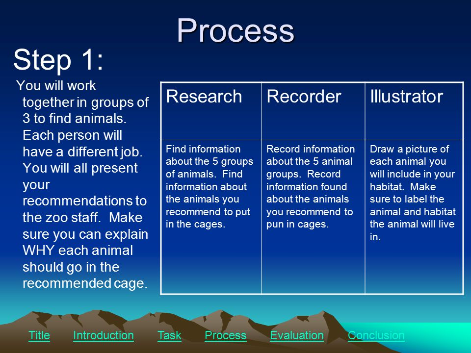 Process You will work together in groups of 3 to find animals.