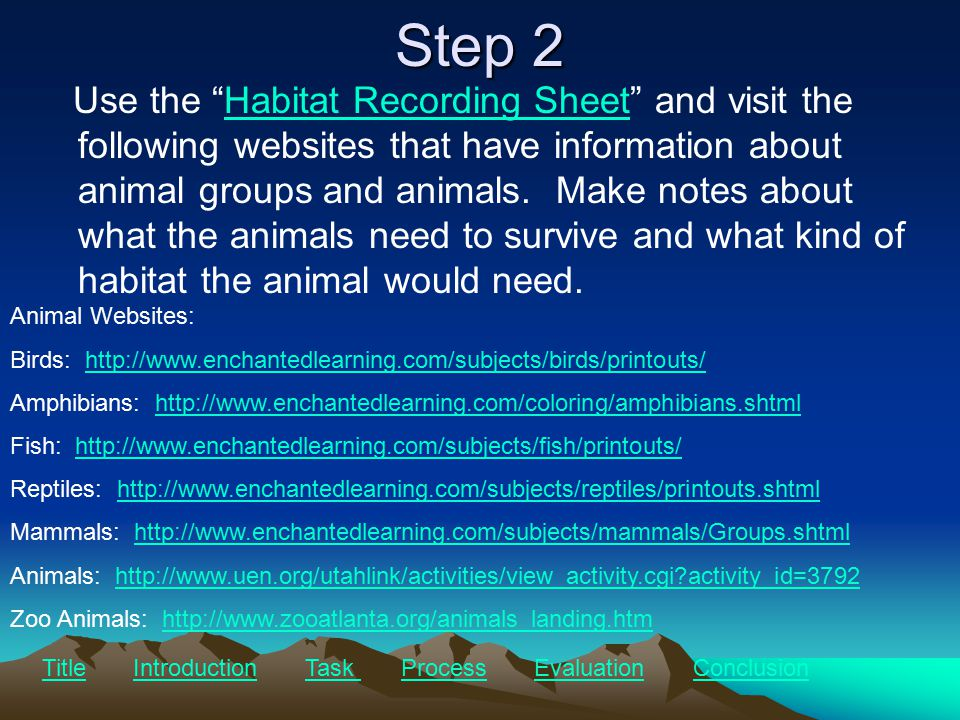 Step 2 Use the Habitat Recording Sheet and visit the following websites that have information about animal groups and animals.
