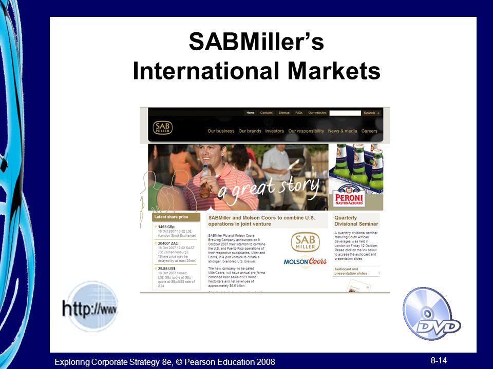 Exploring Corporate Strategy 8e, © Pearson Education 2008 8-14 SABMiller's International Markets