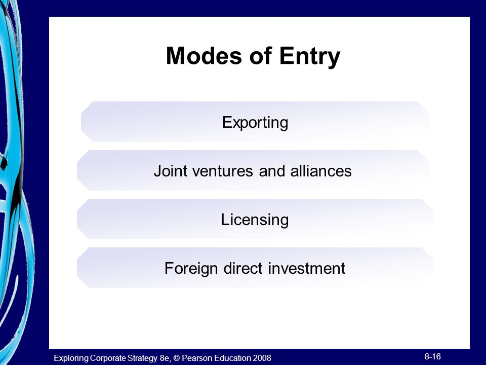 Exploring Corporate Strategy 8e, © Pearson Education 2008 8-16 Modes of Entry Exporting Joint ventures and alliances Licensing Foreign direct investme