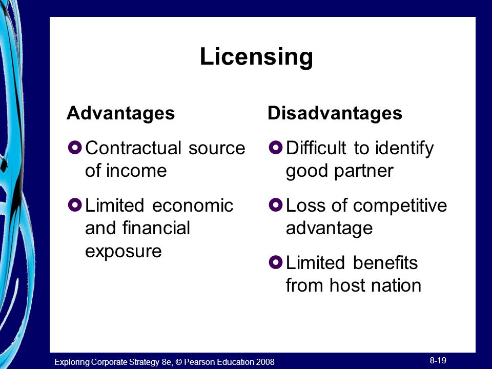 Exploring Corporate Strategy 8e, © Pearson Education 2008 8-19 Licensing Advantages  Contractual source of income  Limited economic and financial ex