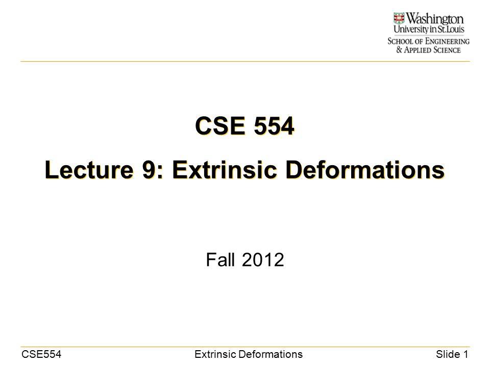 CSE554Extrinsic DeformationsSlide 2 Review Non-rigid deformation – Intrinsic methods: deforming the boundary points – An optimization problem Minimize shape distortion Maximize fit – Example: Laplacian-based deformation Source Target Before After