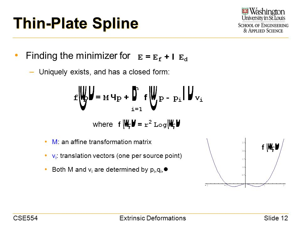 CSE554Extrinsic DeformationsSlide 12 Thin-Plate Spline Finding the minimizer for – Uniquely exists, and has a closed form: M: an affine transformation matrix v i : translation vectors (one per source point) Both M and v i are determined by p i,q i, where