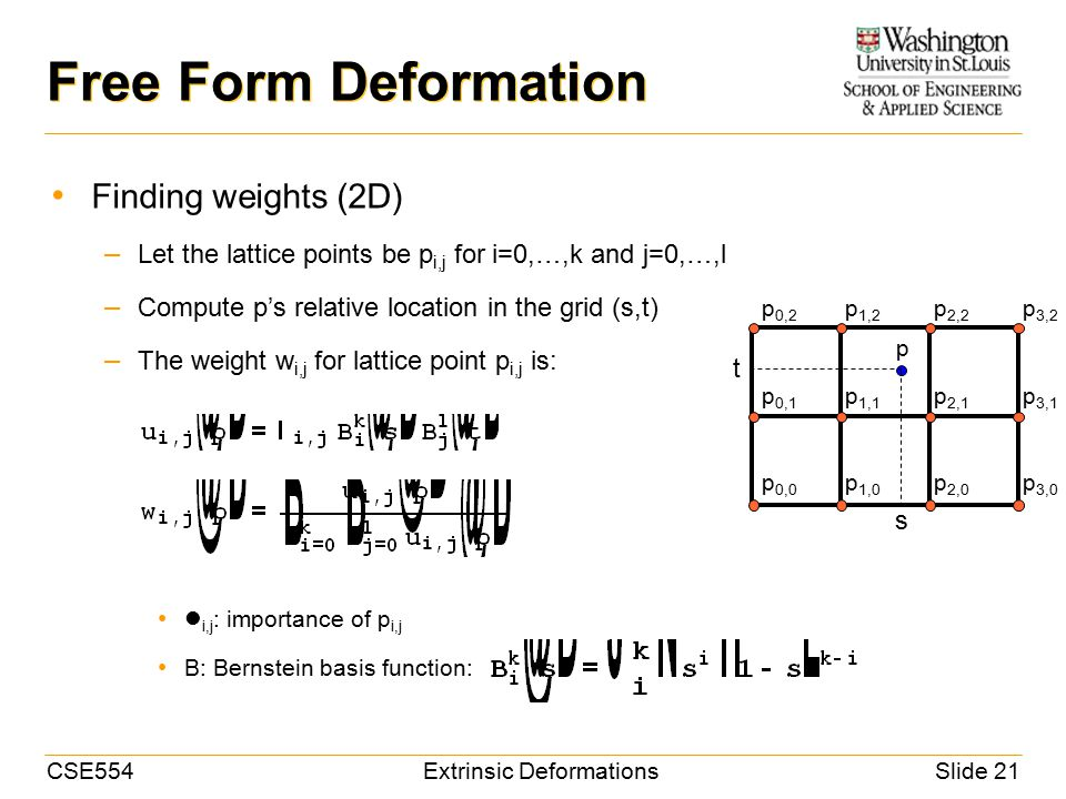 CSE554Extrinsic DeformationsSlide 21 Free Form Deformation Finding weights (2D) – Let the lattice points be p i,j for i=0,…,k and j=0,…,l – Compute p's relative location in the grid (s,t) – The weight w i,j for lattice point p i,j is: i,j : importance of p i,j B: Bernstein basis function: p 0,0 p 0,1 p 0,2 p 1,0 p 1,1 p 1,2 p 2,0 p 2,1 p 2,2 p 3,0 p 3,1 p 3,2 p s t