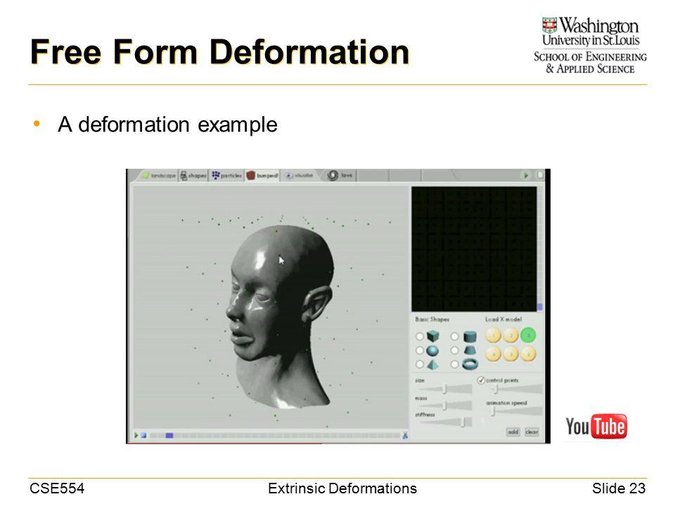 CSE554Extrinsic DeformationsSlide 23 Free Form Deformation A deformation example