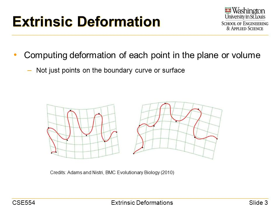 CSE554Extrinsic DeformationsSlide 14 Thin-Plate Spline Application: image registration – Manual or automatic feature pair detection SourceTargetDeformed source Credits: Rohr et al, TMI (2001)