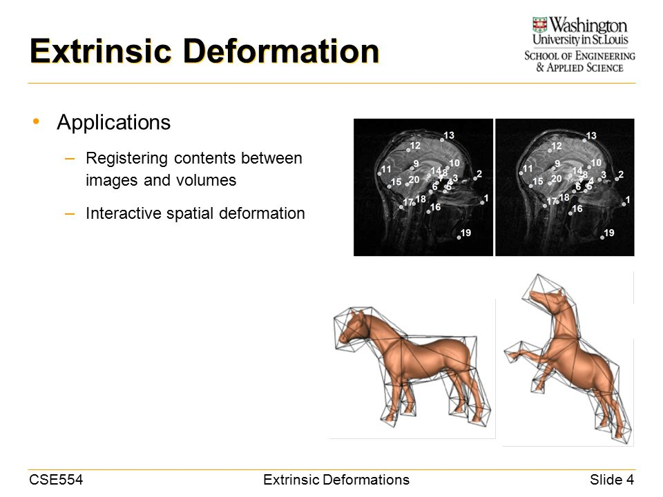 CSE554Extrinsic DeformationsSlide 4 Extrinsic Deformation Applications – Registering contents between images and volumes – Interactive spatial deformation