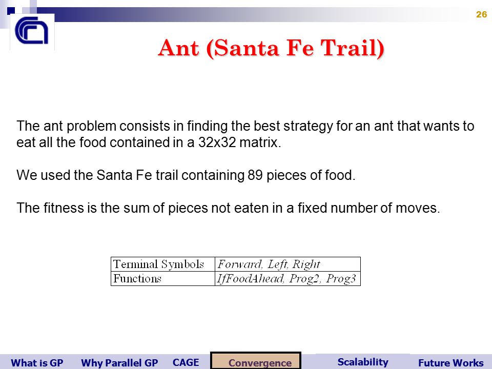 What is GP Scalability Convergence CAGE Future WorksWhy Parallel GP 26 Ant (Santa Fe Trail) The ant problem consists in finding the best strategy for an ant that wants to eat all the food contained in a 32x32 matrix.