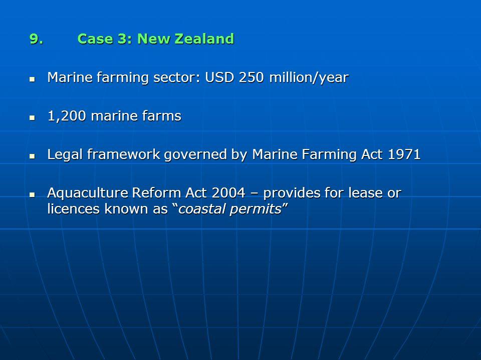 9.Case 3: New Zealand Marine farming sector: USD 250 million/year Marine farming sector: USD 250 million/year 1,200 marine farms 1,200 marine farms Le