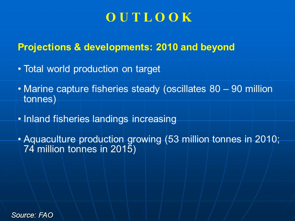 Projections & developments: 2010 and beyond Total world production on target Marine capture fisheries steady (oscillates 80 – 90 million tonnes) Inlan
