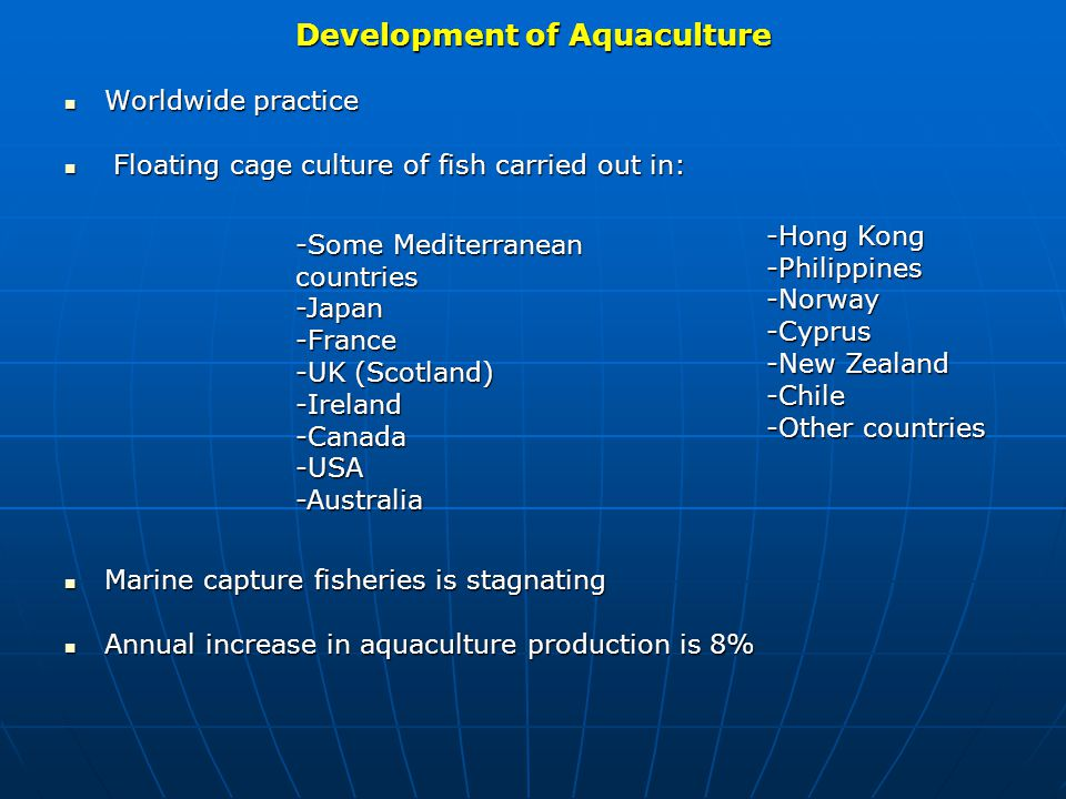 2.Aquaculture Master Plan The study was commissioned by the Ministry of Finance and ED.