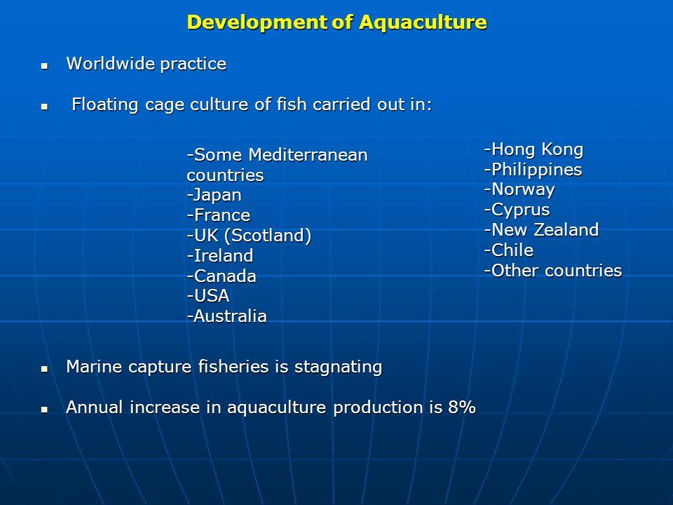 Development of Aquaculture Worldwide practice Worldwide practice Floating cage culture of fish carried out in: Floating cage culture of fish carried o