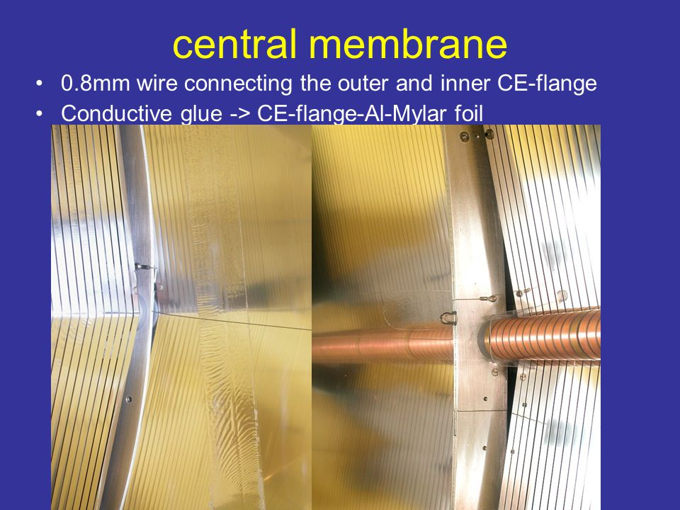 central membrane 0.8mm wire connecting the outer and inner CE-flange Conductive glue -> CE-flange-Al-Mylar foil