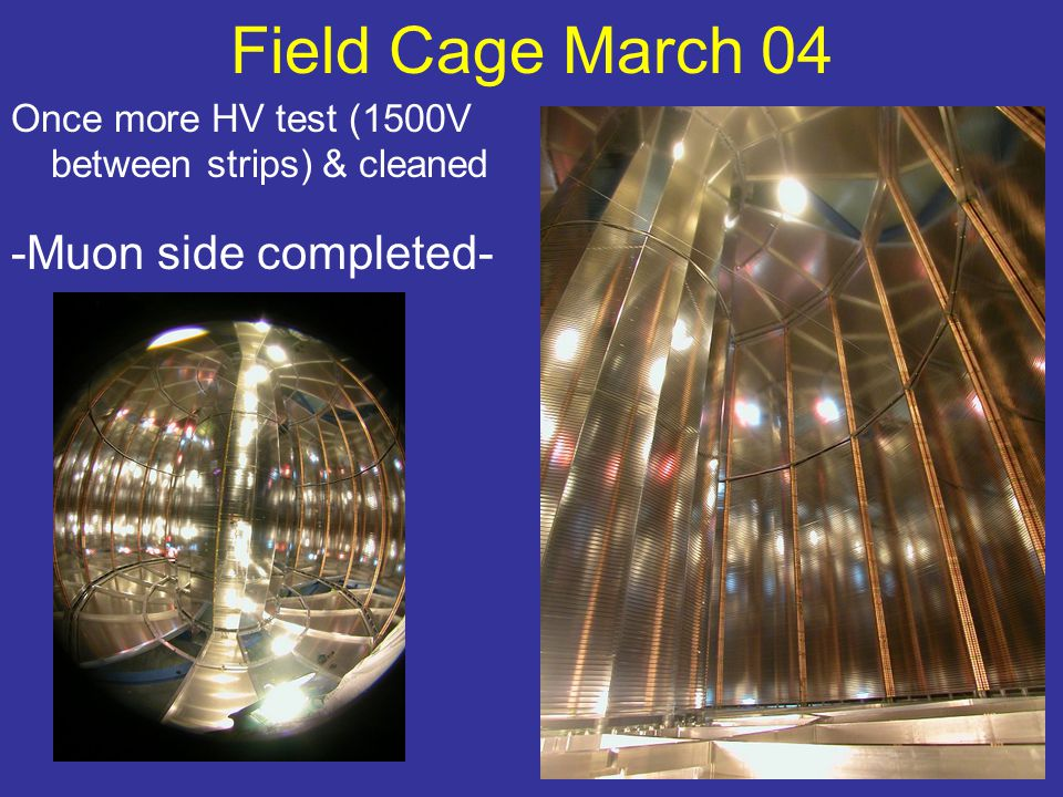 Field Cage March 04 Once more HV test (1500V between strips) & cleaned -Muon side completed-