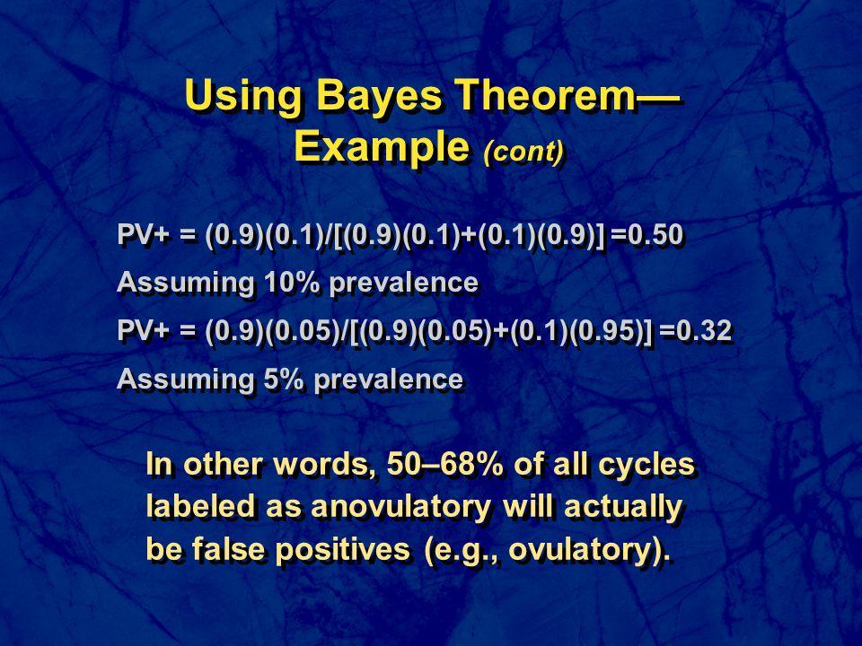 PV+ = (0.9)(0.1)/[(0.9)(0.1)+(0.1)(0.9)] =0.50 Assuming 10% prevalence PV+ = (0.9)(0.05)/[(0.9)(0.05)+(0.1)(0.95)] =0.32 Assuming 5% prevalence PV+ =