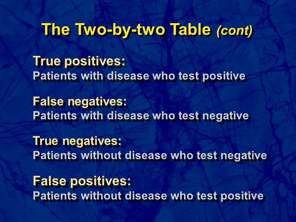 True positives: Patients with disease who test positive False negatives: Patients with disease who test negative True negatives: Patients without dise