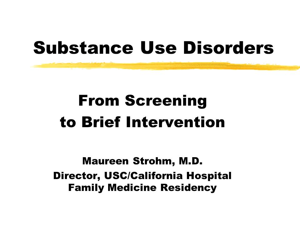BRIEF INTERVENTION: Effectiveness zOver 40 controlled trials zEven control subjects reduced use 10- 30% at 1 year follow-up z66%-74% reduction in quantity/frequency of use (men - women), with 5-15 min physician advice yfewer binge episodes, reduction in total use yimproved liver function (reduced GGT levels)