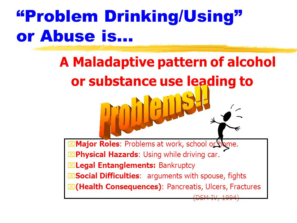 Problem Drinking/Using or Abuse is...