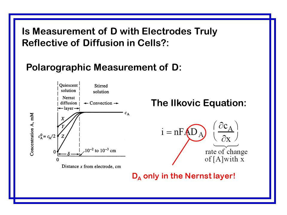 Polarographic Measurement of D: The Ilkovic Equation: D A only in the Nernst layer! Is Measurement of D with Electrodes Truly Reflective of Diffusion