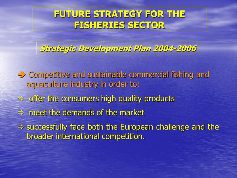 FUTURE STRATEGY FOR THE FISHERIES SECTOR  Competitive and sustainable commercial fishing and aquaculture industry in order to:  offer the consumers high quality products  meet the demands of the market  successfully face both the European challenge and the broader international competition.