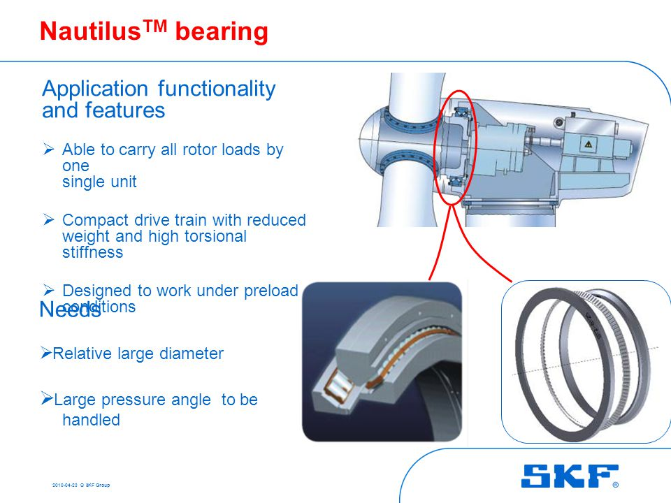 2010-04-23 © SKF Group Practical example Nautilus TM bearing for wind turbine main shaft