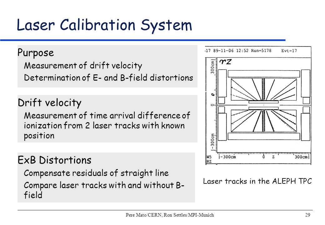 Pere Mato/CERN, Ron Settles/MPI-Munich29 Laser Calibration System Purpose Measurement of drift velocity Determination of E- and B-field distortions Dr