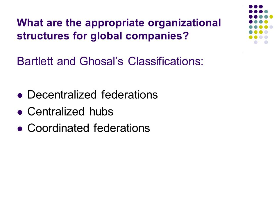What are the appropriate organizational structures for global companies? Bartlett and Ghosal's Classifications: Decentralized federations Centralized