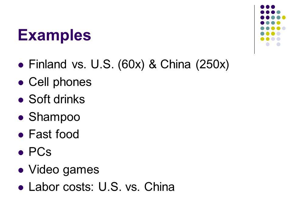 Examples Finland vs. U.S. (60x) & China (250x) Cell phones Soft drinks Shampoo Fast food PCs Video games Labor costs: U.S. vs. China