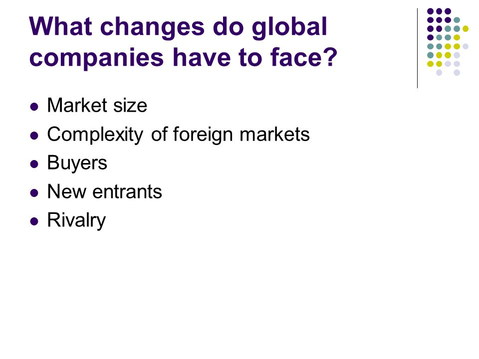 What changes do global companies have to face? Market size Complexity of foreign markets Buyers New entrants Rivalry