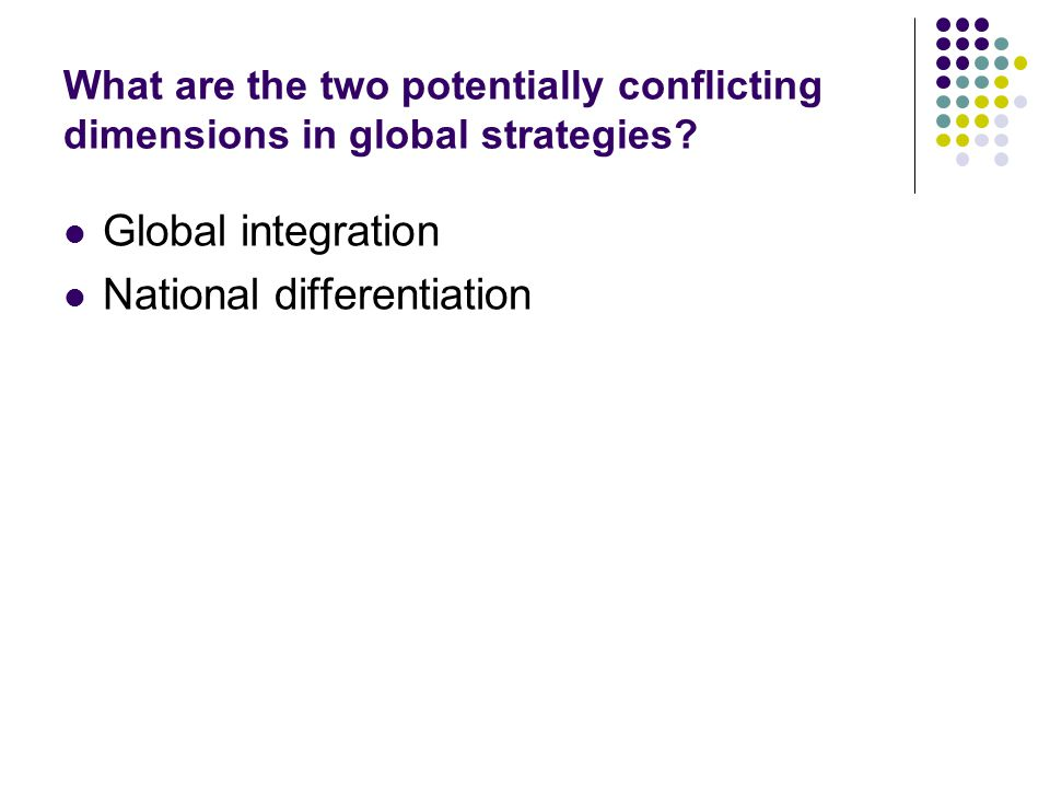 What are the two potentially conflicting dimensions in global strategies? Global integration National differentiation