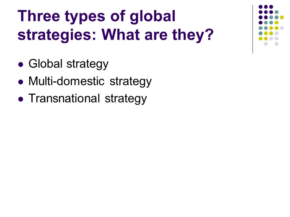 Three types of global strategies: What are they? Global strategy Multi-domestic strategy Transnational strategy