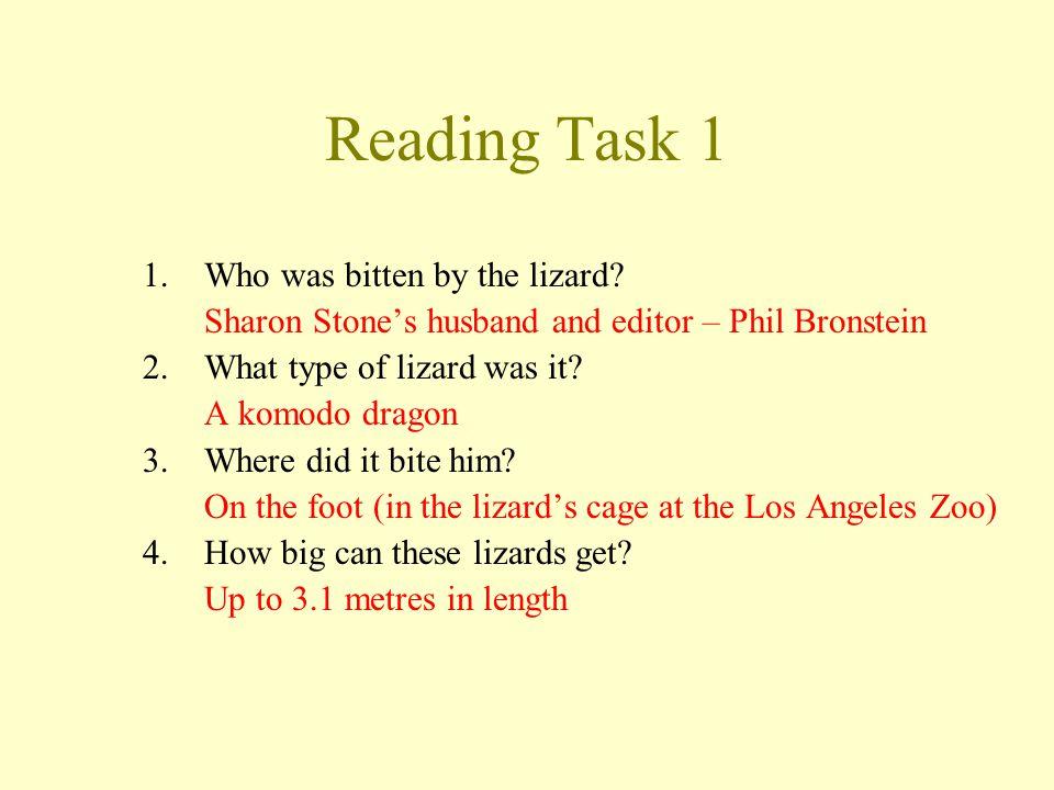 Reading Task 1 1.Who was bitten by the lizard.