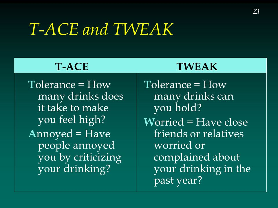 T-ACE and TWEAK T-ACE T olerance = How many drinks does it take to make you feel high? A nnoyed = Have people annoyed you by criticizing your drinking