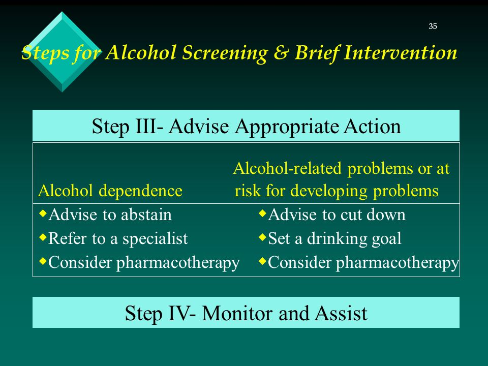 35 Steps for Alcohol Screening & Brief Intervention Alcohol-related problems or at Alcohol dependence risk for developing problems  Advise to abstain  Advise to cut down  Refer to a specialist  Set a drinking goal  Consider pharmacotherapy Step III- Advise Appropriate Action Step IV- Monitor and Assist