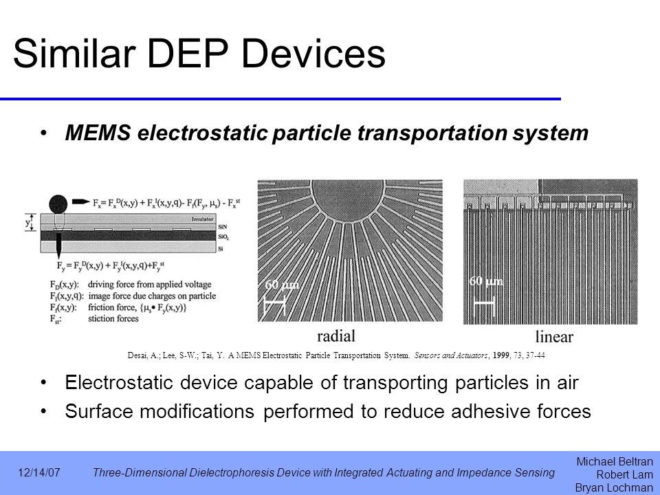 Michael Beltran Robert Lam Bryan Lochman 12/14/07Three-Dimensional Dielectrophoresis Device with Integrated Actuating and Impedance Sensing Similar DEP Devices MEMS electrostatic particle transportation system Electrostatic device capable of transporting particles in air Surface modifications performed to reduce adhesive forces Desai, A.; Lee, S-W.; Tai, Y.