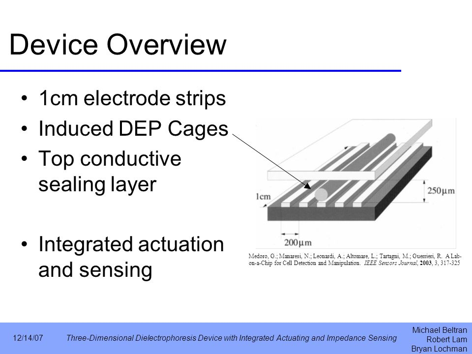 Michael Beltran Robert Lam Bryan Lochman 12/14/07Three-Dimensional Dielectrophoresis Device with Integrated Actuating and Impedance Sensing Device Overview 1cm electrode strips Induced DEP Cages Top conductive sealing layer Integrated actuation and sensing Medoro, G.; Manaresi, N.; Leonardi, A.; Altomare, L.; Tartagni, M.; Guerrieri, R.
