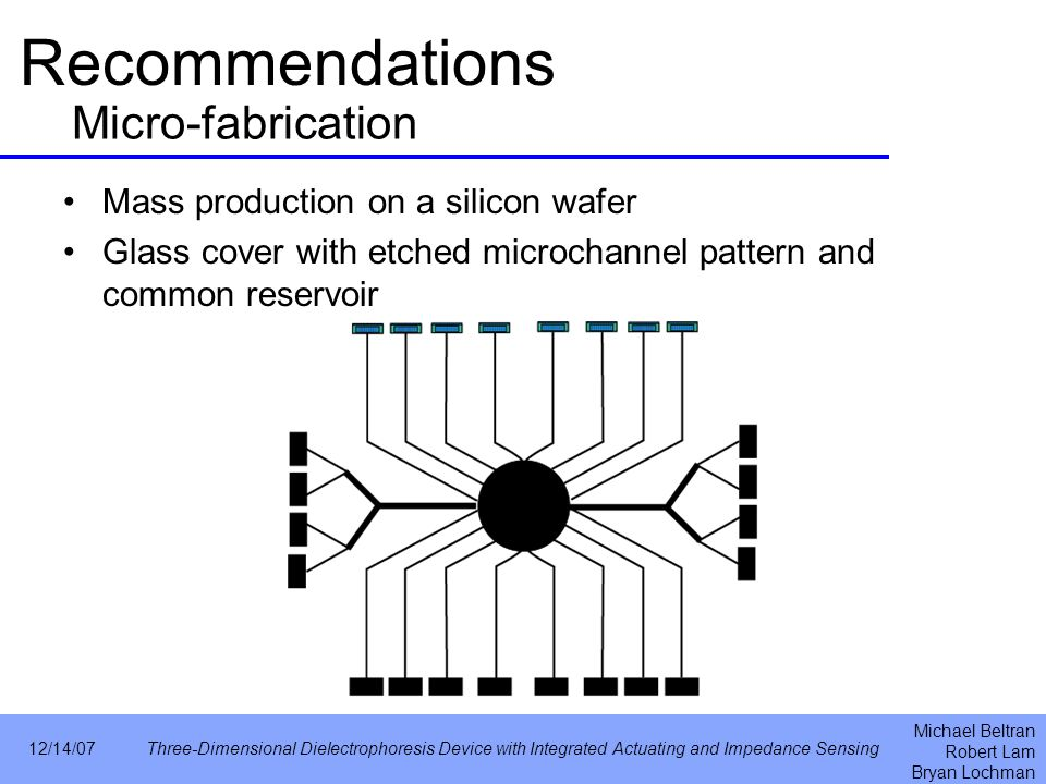 Michael Beltran Robert Lam Bryan Lochman 12/14/07Three-Dimensional Dielectrophoresis Device with Integrated Actuating and Impedance Sensing Recommendations Mass production on a silicon wafer Glass cover with etched microchannel pattern and common reservoir Micro-fabrication
