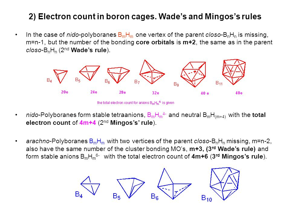2) Electron count in boron cages. Wade's and Mingos's rules In the case of nido-polyboranes B m H m one vertex of the parent closo-B n H n is missing,