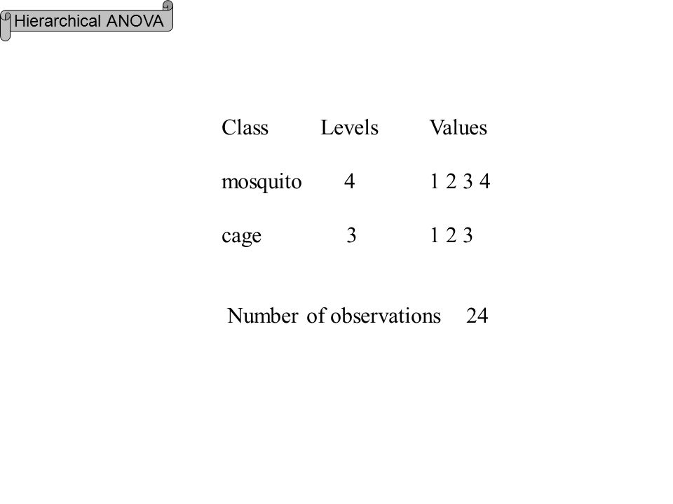 Class Levels Values mosquito 4 1 2 3 4 cage 3 1 2 3 Number of observations 24 Hierarchical ANOVA