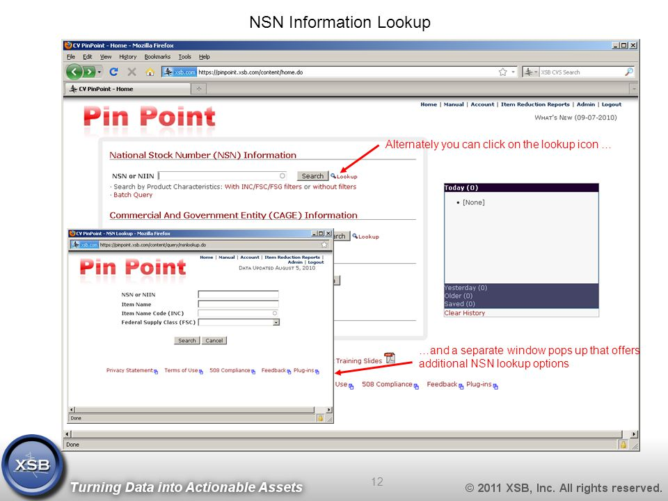 NSN Information Lookup Alternately you can click on the lookup icon … …and a separate window pops up that offers additional NSN lookup options 12
