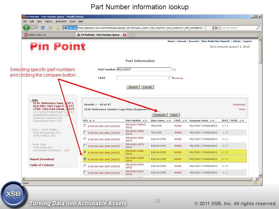 Part Number information lookup Selecting specific part numbers and clicking the compare button … 24