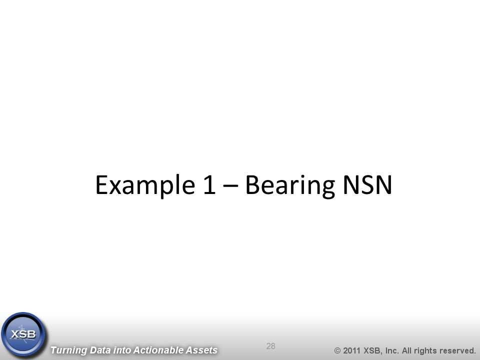 Example 1 – Bearing NSN 28