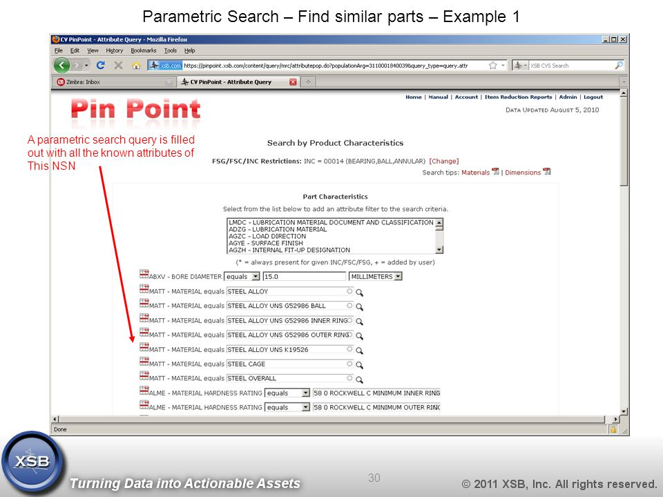 Parametric Search – Find similar parts – Example 1 A parametric search query is filled out with all the known attributes of This NSN 30