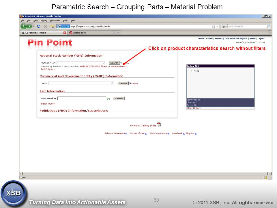 Click on product characteristics search without filters Parametric Search – Grouping Parts – Material Problem 50