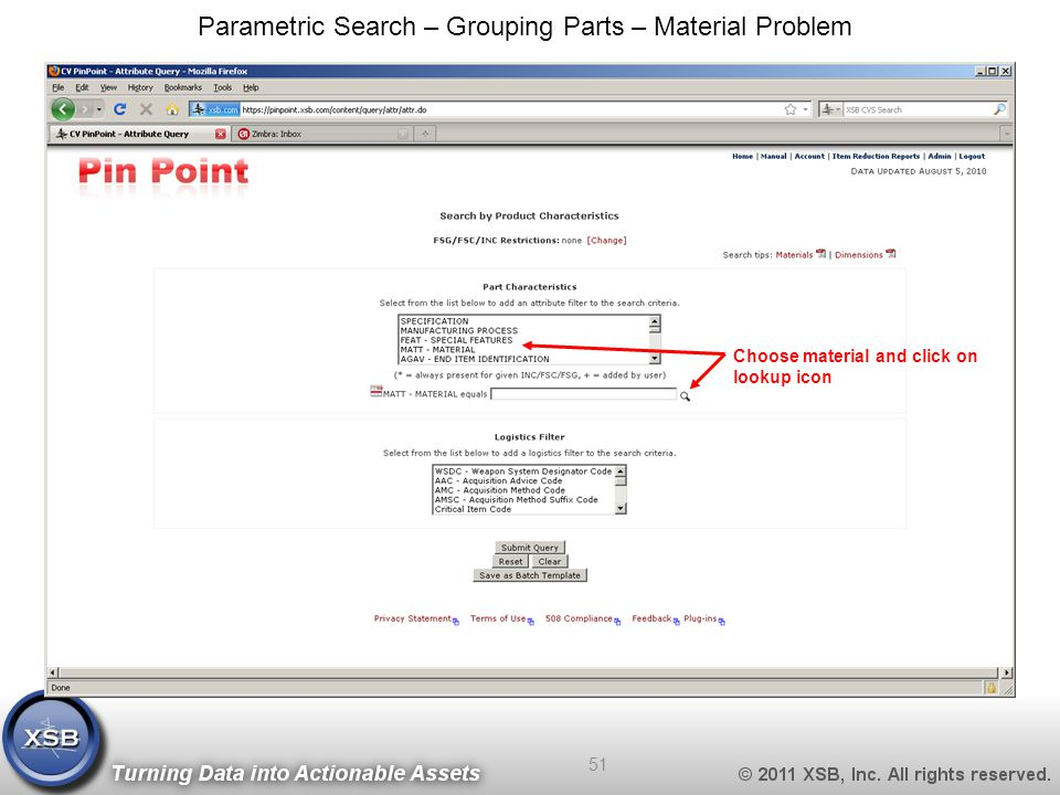 Choose material and click on lookup icon Parametric Search – Grouping Parts – Material Problem 51